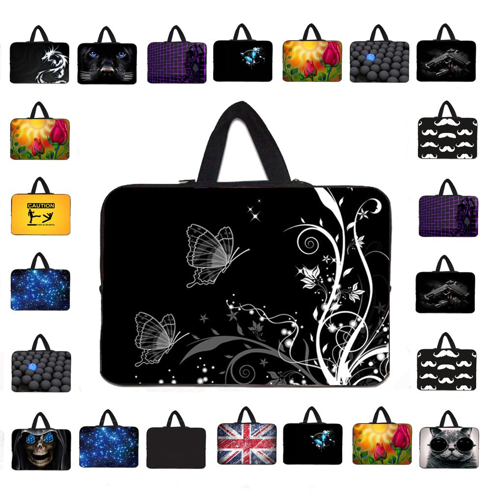Flores Impressão Preto Cor predominante New Bag mulheres 10 Neoprene Carry Handle Sleeve Zipper Capa Netbook Acessórios para Computador Atacado(China (Mainland))