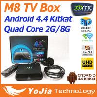 M8 TV Box Amlogic S802 Quad Core XBMC Gotham Android 4.4 Kitkat 2.4G 5G Dual Wifi  2G Ram 8G Rom Bluetooth 4.0 4K Output