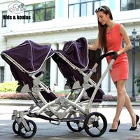 Kidsandkoalas twins baby stroller two-way front and rear folding stroller cart
