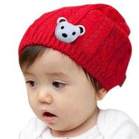 7008 cotton baby hat knitted wool hat baby bear twist stereo ear cap wholesale children Knitting wool winter hat
