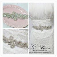 Vintage crystal Bridal Belt handmade woman Waistband wedding beaded rhinestone sash BW04