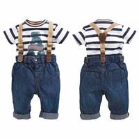 2014 New Fashion Boys Clothes Sets Casual Kids Clothing Set Boys Suit ( Striped Boys T shirt + Jeans + Belt ) 3 pcs Sets 1357