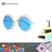 AEVOGUE with case Newest round Metal Frame brand Vintage sunglasses women good Quality Multicolor lens sun glasses UV400 AE0186