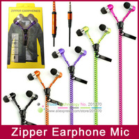 50pcs High Quality In-Ear Metal Zipper Earphones Headphone with Mic 3.5mm Jack for iPhone Samsung MP3 MP4 Phone +Retail Box Hot!