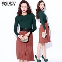 winter 2014 female thread fashion o-neck long-sleeve slim waist sweater
