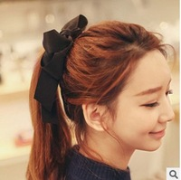 Free shipping Hot Womens Korean Multicolor Satin Ribbon Bow Hair Band Rope Scrunchie Ponytail Holder Hair jewelry B059