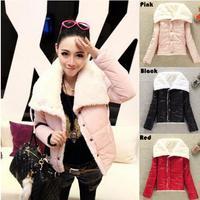 Free Shipping 2014 winter warm coats women wool slim double breasted wool coat winter jacket women fur coat jackets#ZFC520