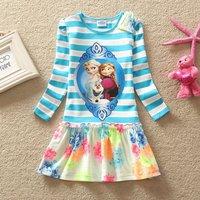 2014 New Frozen Girls Dress 3-8yrs Kids Autumn Tshirt Anna Elsa Girl Dresses Top Dresses Flower Pattern Cotton Children's Cloths