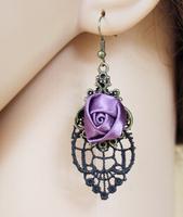 European and American retro black lace and purple roses earrings,earrings for women,coin earrings,vintage earring
