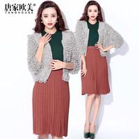 winter 2014 female fashion cutout all-match tassel three quarter sleeve cardigan outerwear