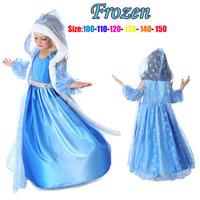 Retail!! Frozen Dress Elsa & Anna Summer Dress For Girl 2014 New Hot Princess Dresses Brand Girls Dress Children Clothing 2-12T