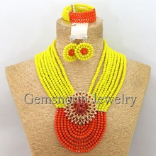 Amazing New African Wedding Beads Crystal Jewelry Set Nigerian Fashion Bridal Jewelry Set Free Shipping GS708
