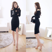 E-Unique New 2014 Autumn Winter Dress Sexy Black Strapless Placketing One-Piece Dress Vintage Slim Vestidos WB11