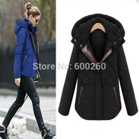 2014 New women winter coat Fashion Plaid Hooded Thick Contrast Color Zipper Slim Coat women warm winter jacket overcoat 2 Colors