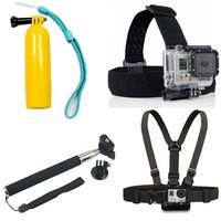 Gopro Monopod Tripod Mount Adapter + Float Bobber Handheld Stick + Chest Belt + Head Strap For ALL Gopro Hero SJ4000 Accessories