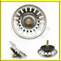 Kitchen Basin Drain Dopant Sink Waste Strainer Basket Leach Plug Stainless Stee
