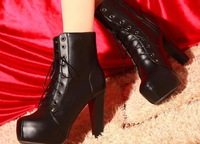 Hot sale  2014 new arrival winter boots 35-40genuine leather high-heeled  thick lace round women boots