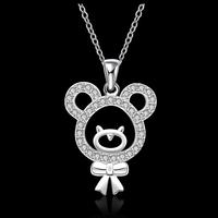 Hot Sale Fashion Jewelry Accessories Rhinestone Cute Bear Pendant Necklace Chain For Female 18inch Wholesale Price