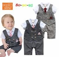 2014 New Summer Baby Rompers Short Sleeve Fashion Tie Gentlemen Baby Boy Romper Baby Overalls Jumpsuit 3 pcs / lot 1356