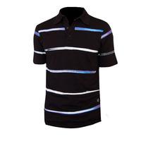 Brand Mens Sports Shirt Fashion Striped Short sleeves V neck Quick Dry Ultra Soft Comfortable Black Size L XL