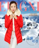 2014 new arrival fur collar ladies long down coat slim long winter coat High quality L-XXXL