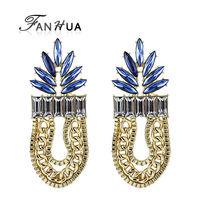 Gold Plated Alloy Costume Jewelry Blue Enamel Long Punk Style Dangle Earring for Women