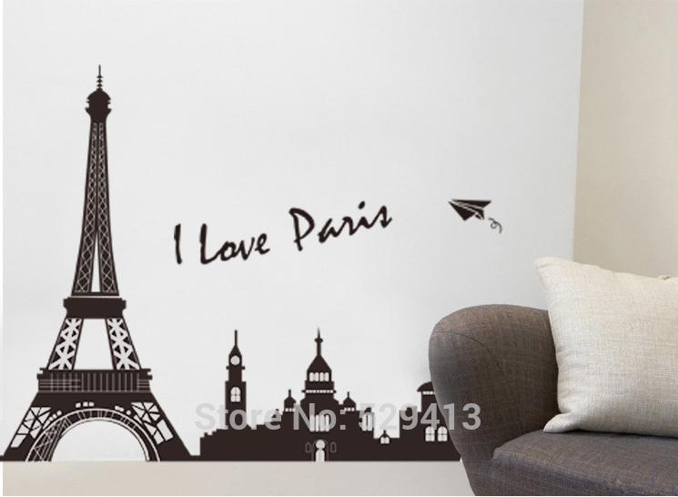 Grande amor Paris torre Eiffel adesivos de parede removível Mural decalque de arte de vinil sala de estar()
