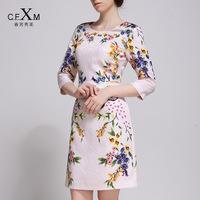2014 Autumn Women Plus Size High Quality Elegant Three Quarter Sleeve Print One-piece Dress Spring and Autumn Female Dress