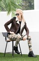 2014 Autumn/Winter women fashion imitation lambs wool fur short coat  PU leather jacket