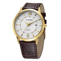 Brand New With Tags BAISHUNS Ultra Thin Watch Men Leather Strap Quartz Watch Business Calendar Wristwatch Relogio Masculino