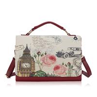 8 color 2014 new female bag cross pattern British retro shoulder bag big Messenger bag female pattern printing bag