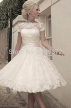 Lace Wedding dress Sexy Fashinonable Mid-Calf O-neck Short sleeve Mini Dress White/Ivory Bridal gown Vestido de noiva 2015(China (Mainland))