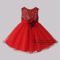 Retail 2015 New Arrivals Girls Dresses Red Sequin Flower Dress For Princess Party Kids Wear GD31126-1
