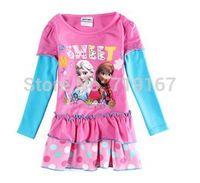 2015 new girl frozen dresses Autumn Springr girl dress  kids Princess Anna elsa frozen dress 30pcs/lot DHL/FEDEX  free shipping