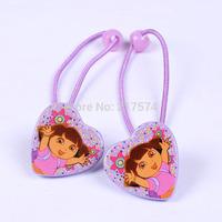 3 Design Mixed New Arrival Fashion Dora the Explorer Girl Heart Hair bands Elastic Hair Rope 20pcs/lot Free Shipping