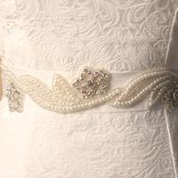 New arrive handmade pearl wedding dress belt vintage rhinestone bride bridesmaid flower sash shinning beaded waistband  BW013