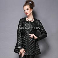 FREE SHIPPING 2014 new high-end Autumn winter Fashion Heavy Hand-beaded chiffon stitching pu leather jacket women S-5XL