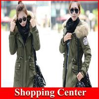 Wholesale New 2014 Long Winter Jacket Women Casual Fleece Fur Hooded Parka Cotton-padded Silm Down & Parkas coat plus size