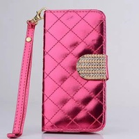 High quality shiny leather wallet case for iphone 4 4s free shipping