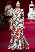 Free shipping 2014/2015 Milan fashion week brand woman flowers splashy print long dress chiffon print long casual dress