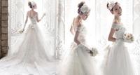 v-neck word shoulder lace wedding dress trailing Princess Bride