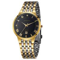 BAISHUNS Luxury Gold Watch Men Full Steel Business Calendar Wristwatch Men Luxury Dress Watches Relogio Masculino 3900