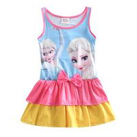 Hot ! Kids Girls Dress Reine Des Neiges Disfraz Frozen Anna & Elsa Costume Congelados Princesa Ropa Nino Ropa Nino CW-15