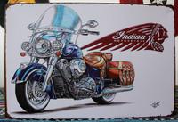 Indian Motorcycle . Vintage, Metal, Tin Sign for the Garage/Man K-04