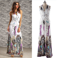 Summer Dress 2015 New Women Bohemian Halter Sexy Backless Printed Maxi Long Dress Casual Party Dress Plus Size Free Shipping