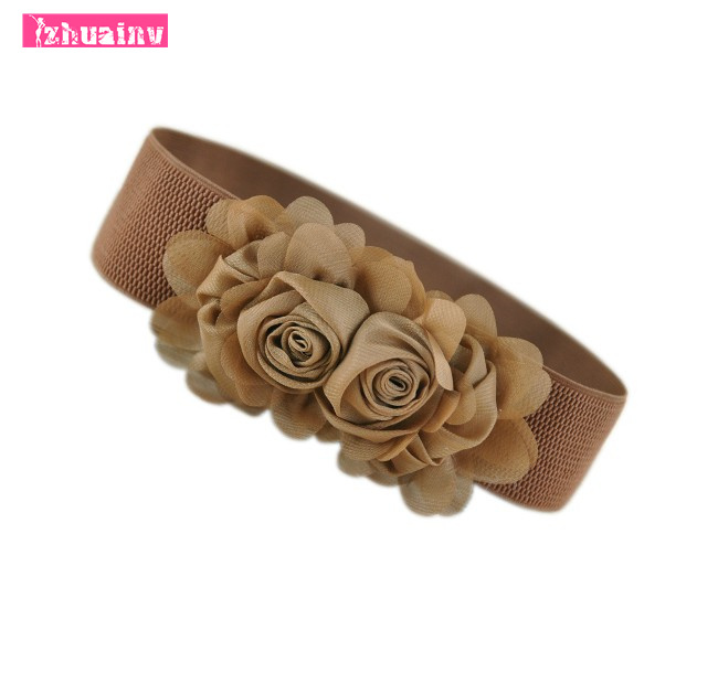 2015 European and American fashion ladies chiffon wide girdle female twin roses decorated with elastic belt(China (Mainland))