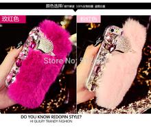 Real rex rabbit fur case for iphone6 plus 5 5inch rhinestone crystal fox head plush covers