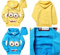 1Retail! 2014 despicable me 2 minion boys t shirt girls nova t-shirts kids children t shirts child Spring hoodies,kids hoodies