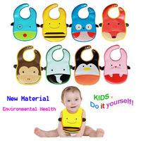 5 Pieces Wholesale Cartoon Pattern Baby Bibs Infants kids Saliva Towel Waterproof Lunch Bibs With A Pocket Free Shipping