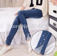 Free Shipping 2014 fashion woman skinny jeans slim pencil pants woman trousers Rhinestone Denim Trousers